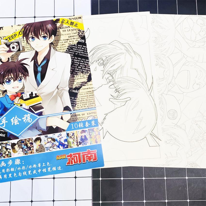 Tranh tô màu Conan tập bản thảo phác họa anime manga chibi