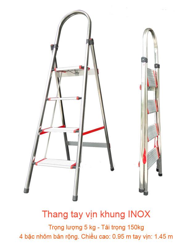 Thang ghế INOX gia đình 4 bậc - 1m44
