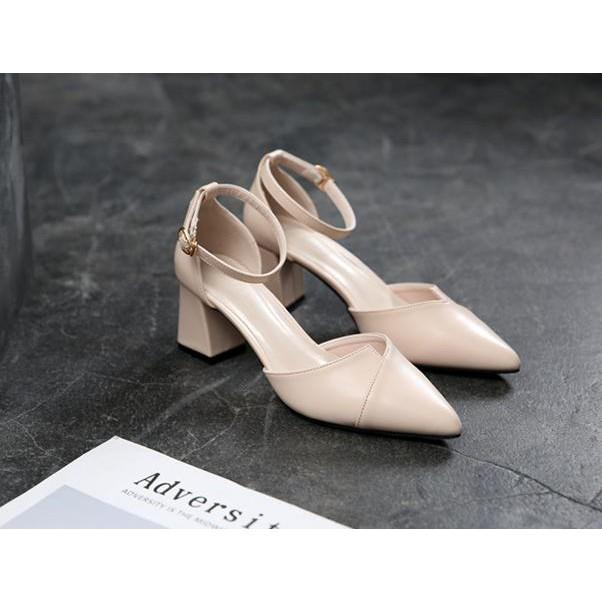 Giày cao gót đế vuông xếp mũi 5 phân phong cách Hàn Quốc a11