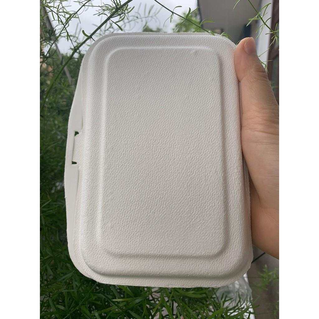100 Hộp bã mía vỏ sò đựng thức ăn 6x4 inch 450ml 17.2x11.2x3.6cm