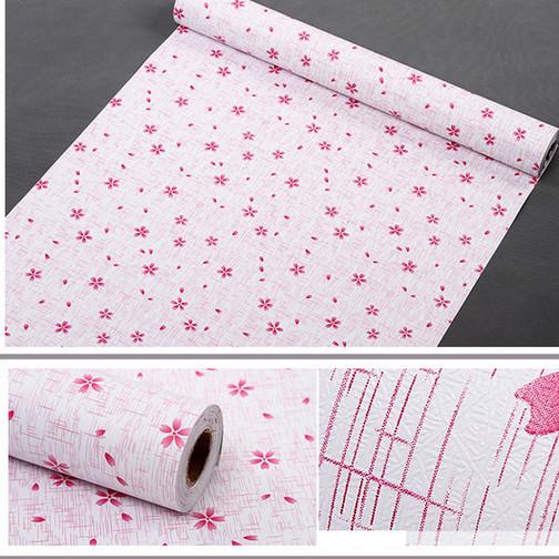 5m giấy decal cuộn hoa 5 cánh hồng DT53(45x500cm)