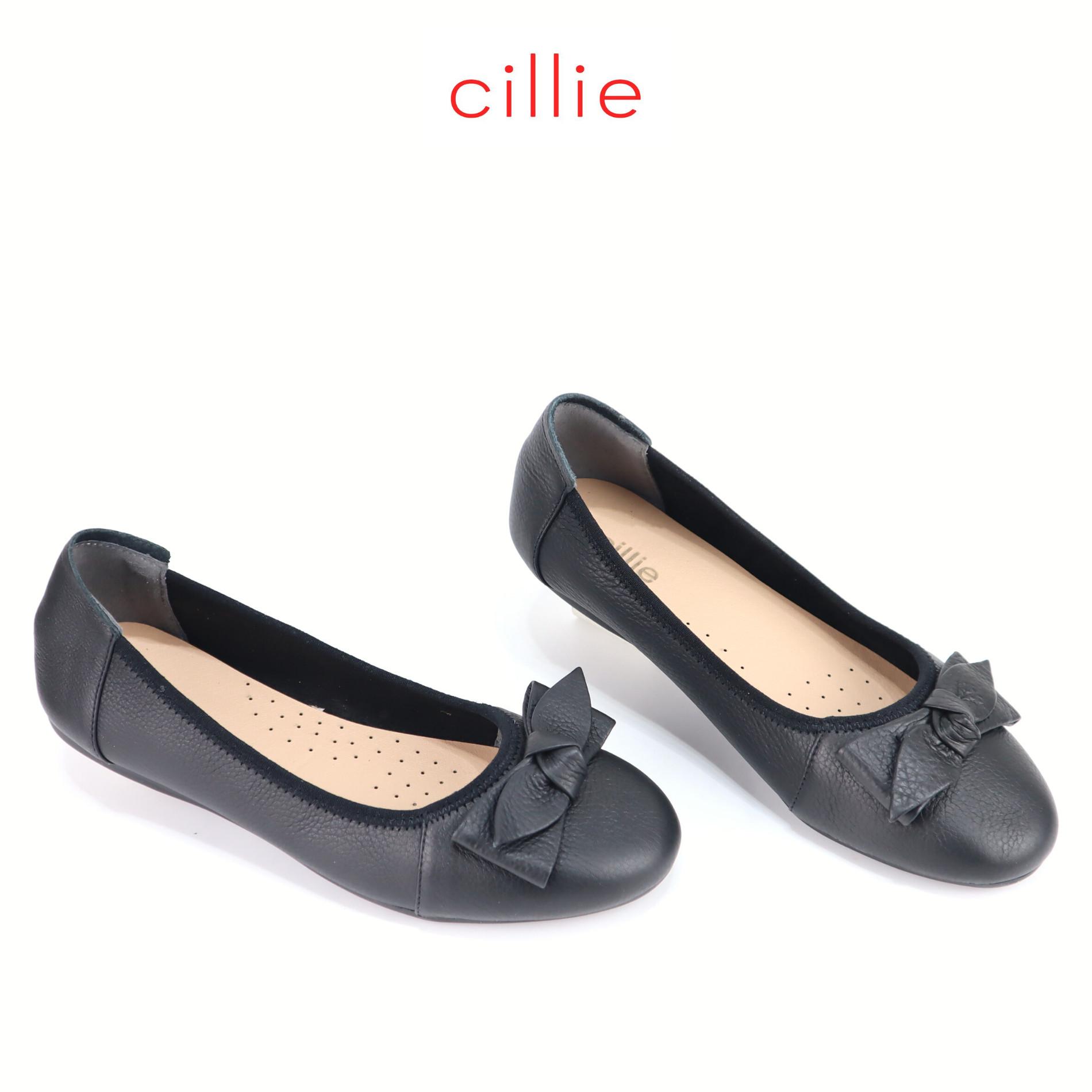 Giày búp bê đế bằng Cillie da thật phối nơ 1193
