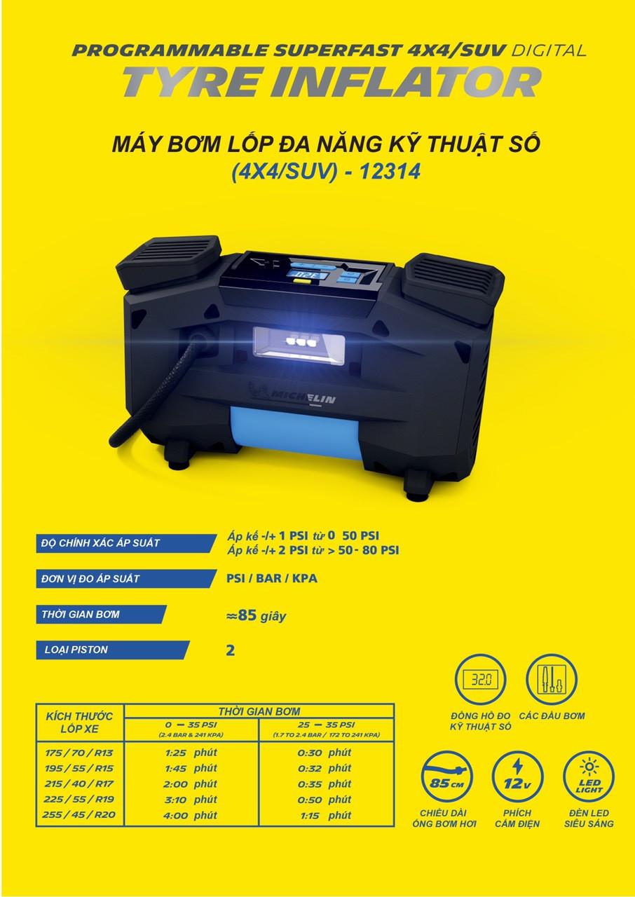Máy bơm lốp đa năng kỹ thuật số tự ngắt piston đôi 12v Michelin 12314