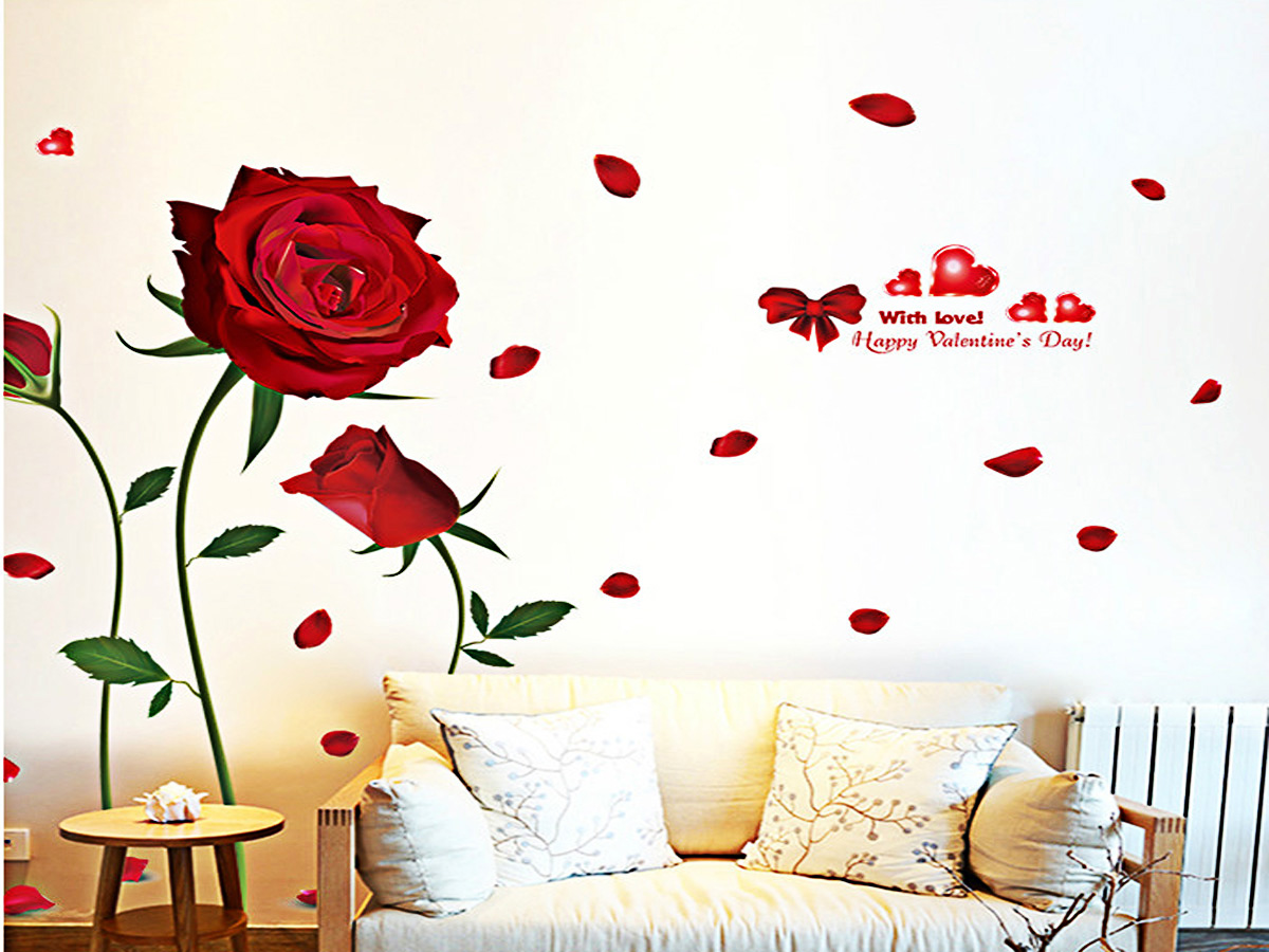 Decal dán tường hoa hồng đỏ 3 bông xl8178