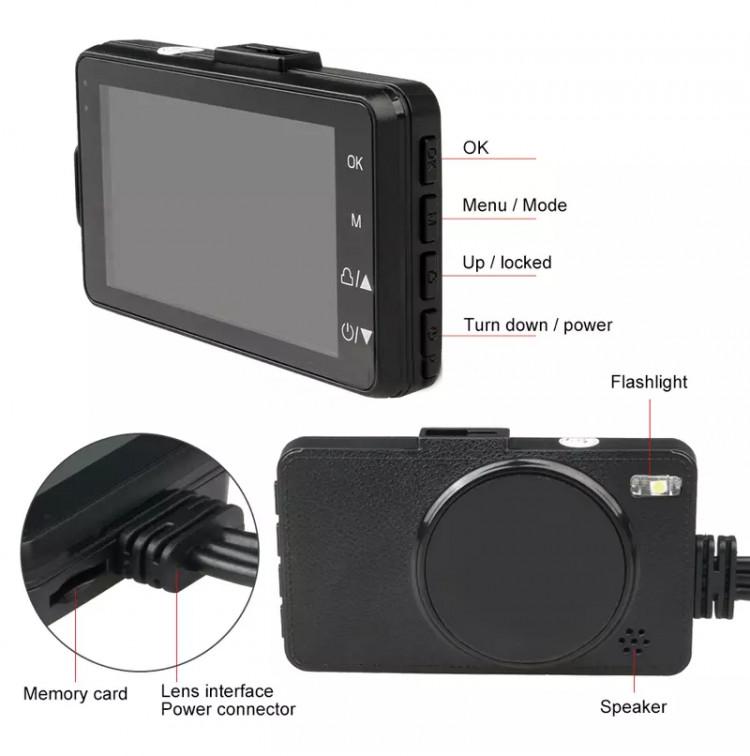 Camera Hành Trình Dành Cho Xe Máy Kèm 2 Camera Sau Chống Nước Cao Cấp MT208