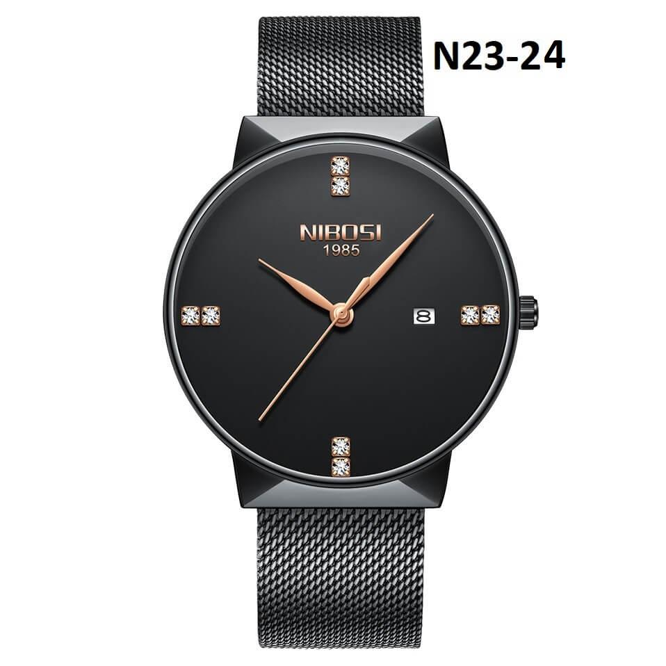 Đồng hồ nam dây thép lưới NIBOSI 2323  cao cấp có lịch ngày - thanh lịch