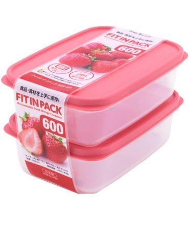 Set 2 hộp nhựa đựng thực phẩm Fitin Pack 600ml nắp dẻo nội địa Nhật Bản