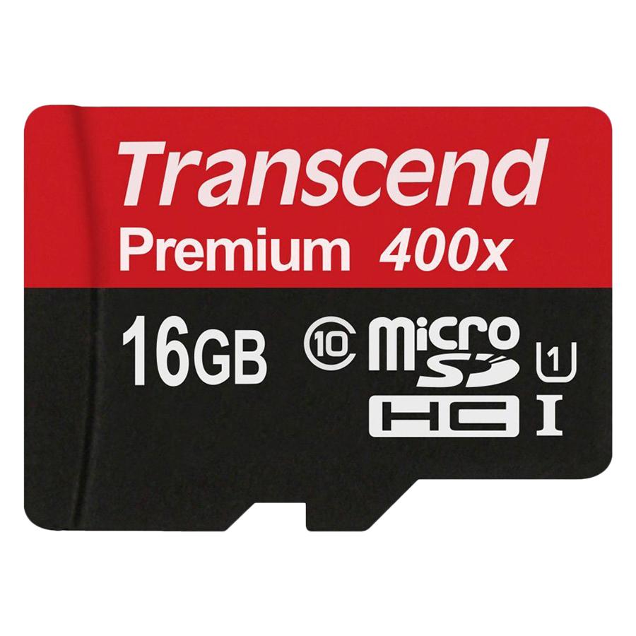 Thẻ Nhớ Micro SD Premium Transcend 16GB Class 10 - Hàng Chính Hãng