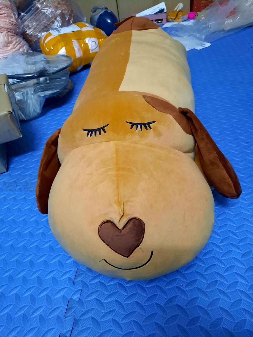Gấu bông chó tai dài, mũi tim, màu Nâu, dài 1 m2