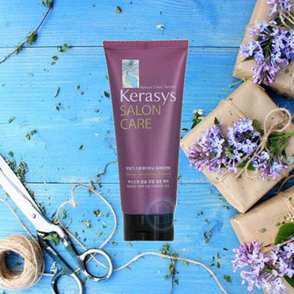 Hấp tóc Kerasys Salon Care Straitening Hàn Quốc 200ml- Dành cho tóc thường xuyên uốn,ép + Móc khoá