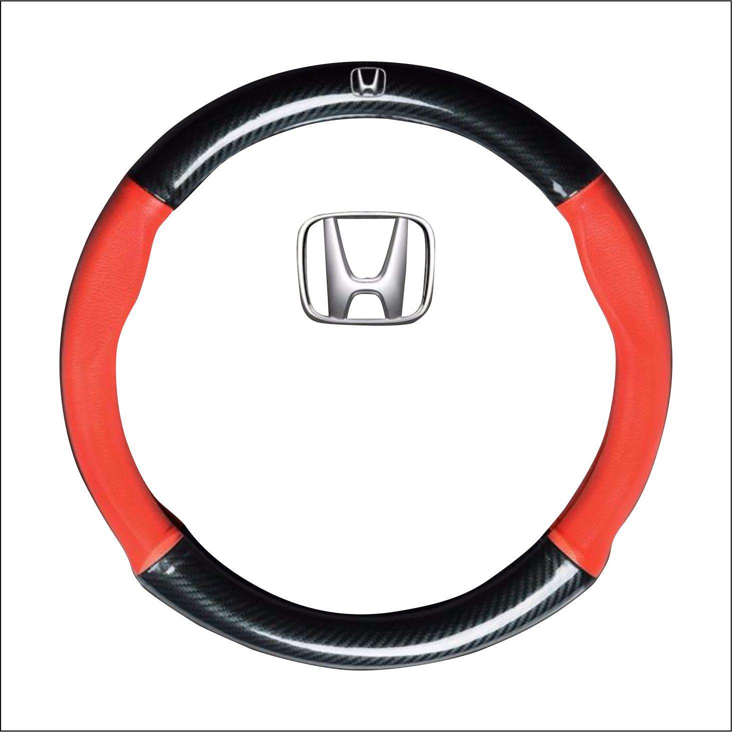 Bọc vô lăng tay lái ô tô da vân Carbon 4S logo HONDA cao cấp