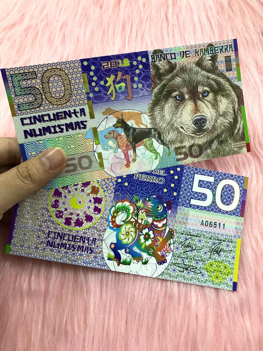 Tờ tiền in hình con chó Kambera của Úc 50 Numismas lưu niệm, dùng để sưu tầm, quà tặng lì xì người tuổi Tuất - tặng kèm bao lì xì đỏ - The Merrick Mint