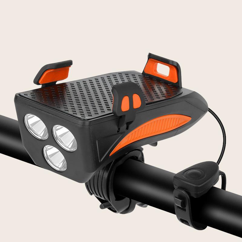 Đèn pin xe đạp thể thao HANBIKE siêu sáng chống nước kèm còi sạc usb có kẹp điện thoại tiện dụng có ảnh thật