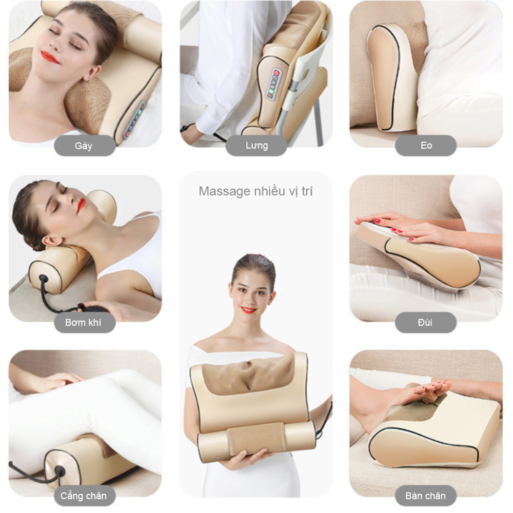 Gối Massage Toàn Thân Vai, Gáy, Cổ, Lưng Đa Năng Bằng Hồng Ngoại Giúp Giảm Đau, Ngủ Sấu Giấc Tại Nhà