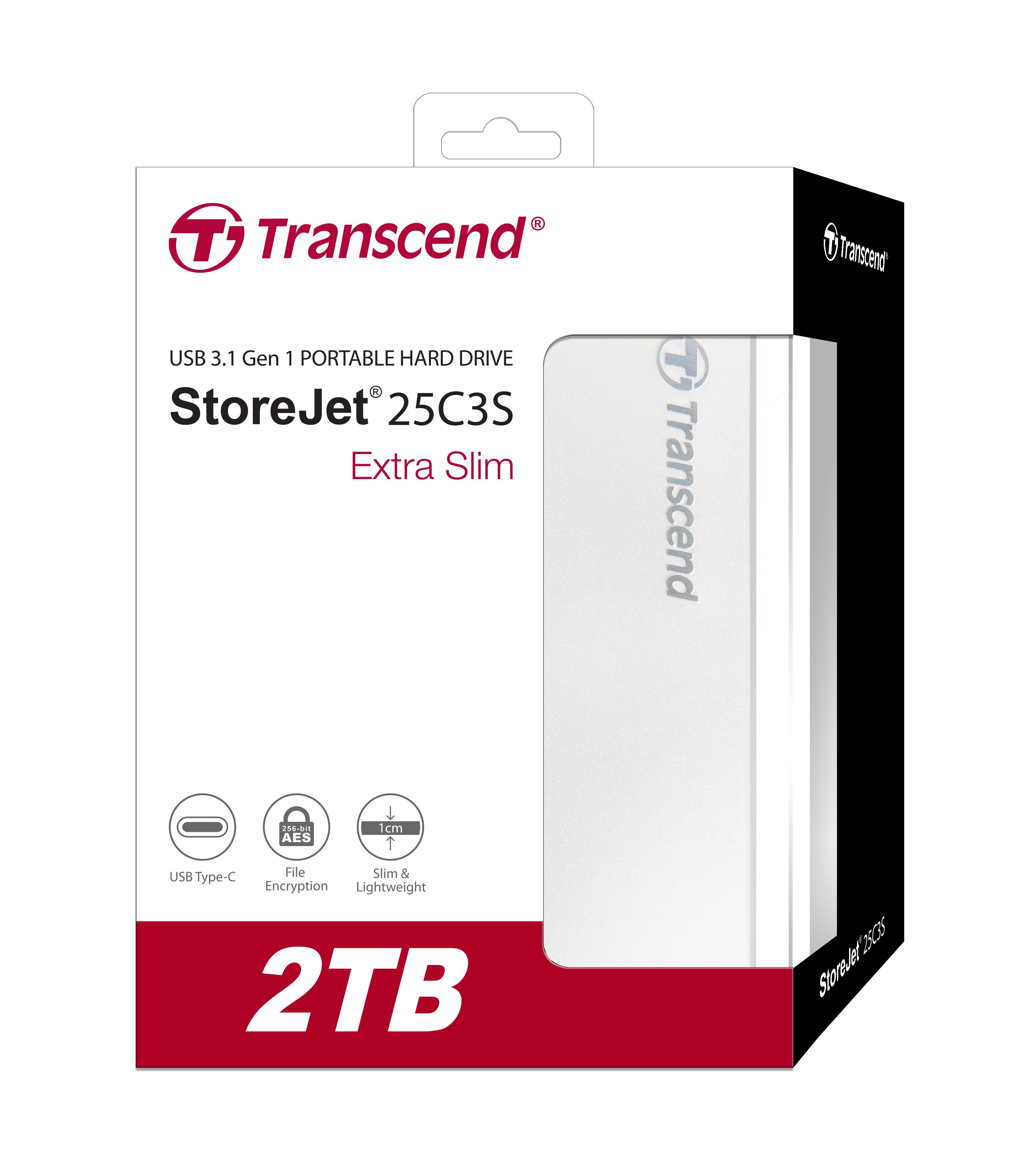 Ổ Cứng Di Động Transcend 2TB StoreJet C3S Extra Slim USB 3.1 - Hàng Chính Hãng