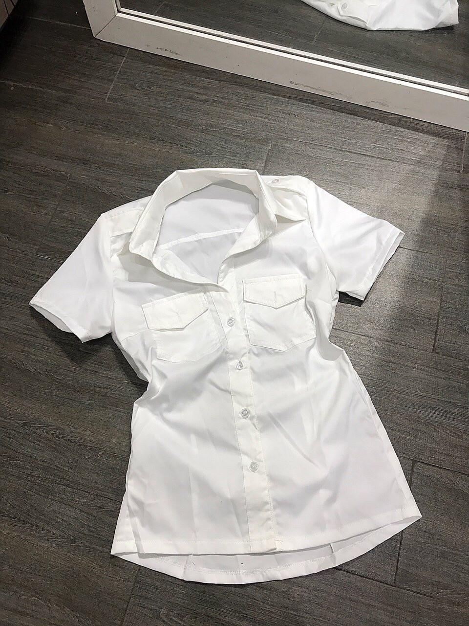 áo sơ mi nữ tay ngắn màu trắng