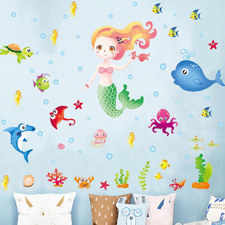 Decal dán tường nàng tiên cá và các sinh vật biển