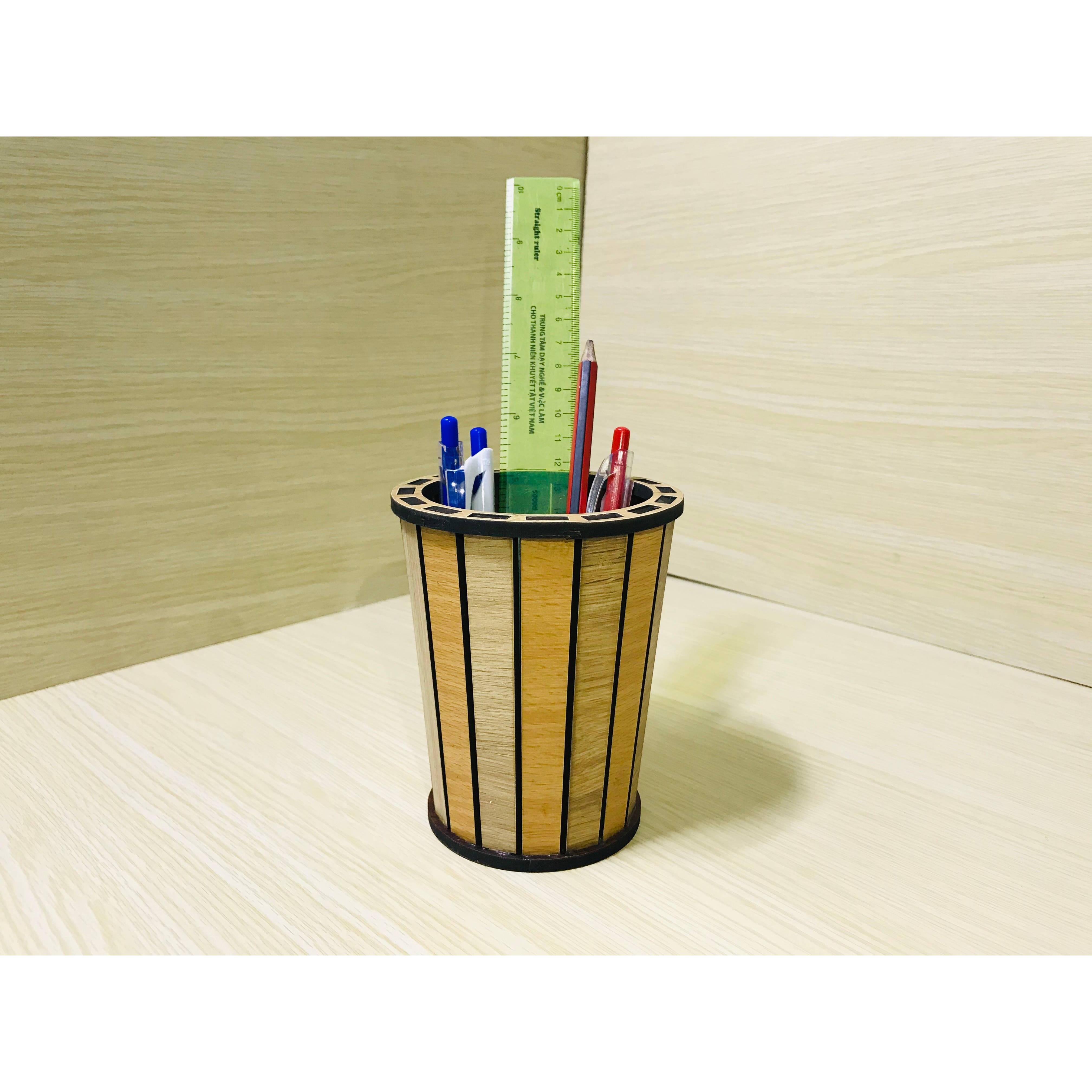 Ống Cắm Bút, Cắm Hoa Nhựa, Đựng Vật Dụng Bằng Gỗ Cao Cấp
