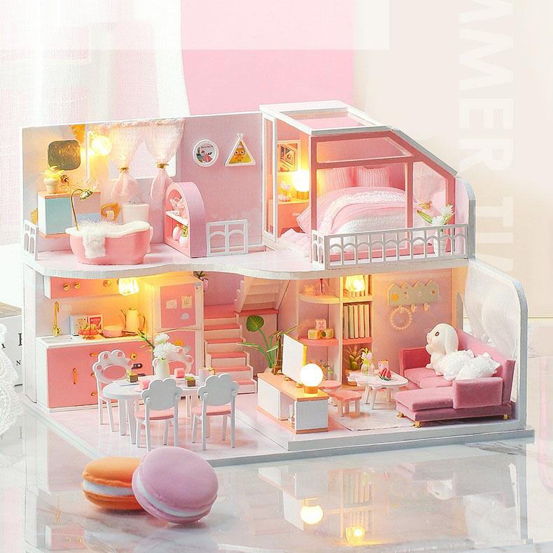 Đồ chơi lắp ghép  3D Mô hình nhà DIY Doll House Mid Summer Dream Kèm đèn LED