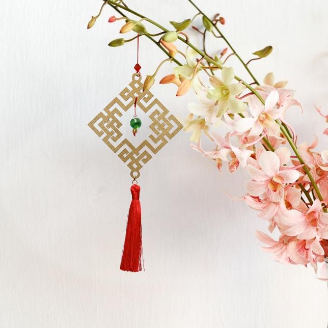 Combo 6V - Bộ 6 món dây treo trang trí Tết Khai Lộc Hoàng Kim, chất liệu gỗ cắt CNC tinh xảo, họa tiết độc đáo,treo cành Mai, nhành Đào,màu vàng đồng cực sang trọng