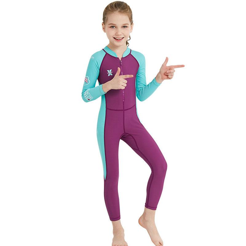 Bộ bơi liên dài tím tay xanh bé gái từ 2 đến 11 tuổi