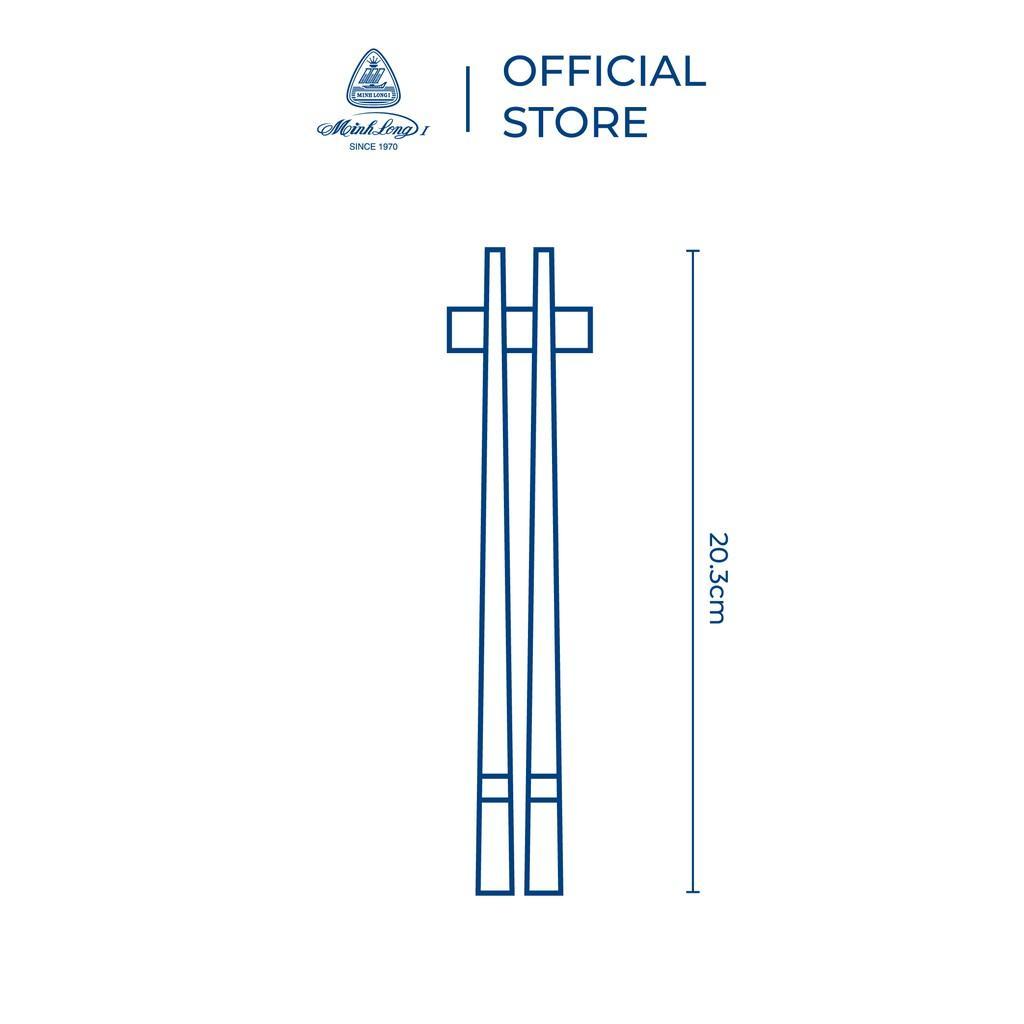 Bộ 06 đôi đũa sứ Minh Long 20.3 cm - Trắng ngà - Hộp giấy