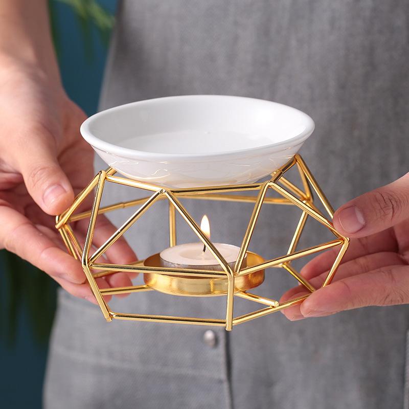 Đèn xông tinh dầu, đèn khuếch tán hương thơm, đèn đốt nến quả cầu vàng- Combo 1 bộ đèn + 1 bộ 10 nến tealight