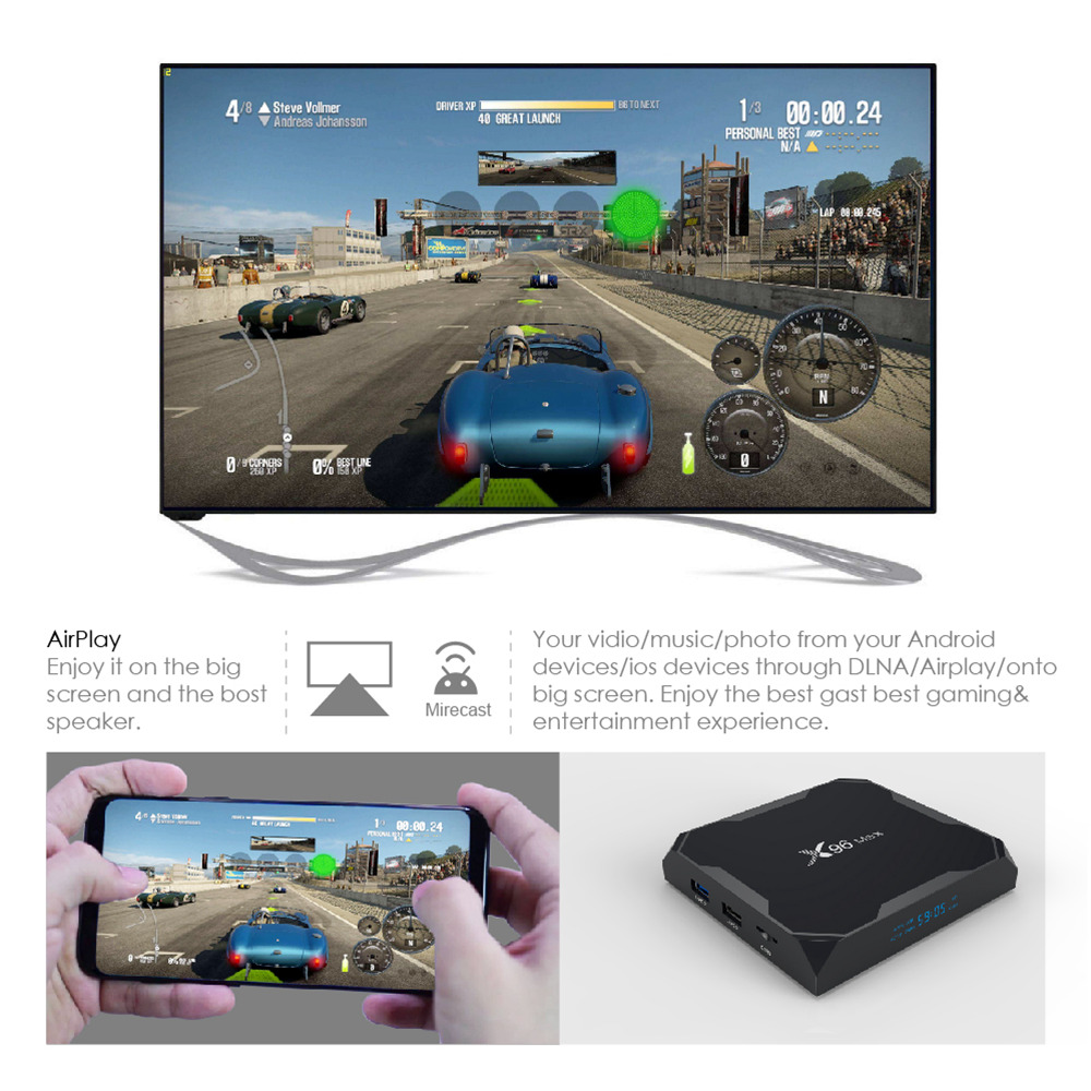 Android Box X96MAX-DDR4-4GB Amlogic S905X2 Android 8.1, bộ nhớ trong 32GB eMMC, 4K TV Box USB3.0 Dual Band WiFi Bluetooth Gigabit LAN - Hàng Nhập Khẩu