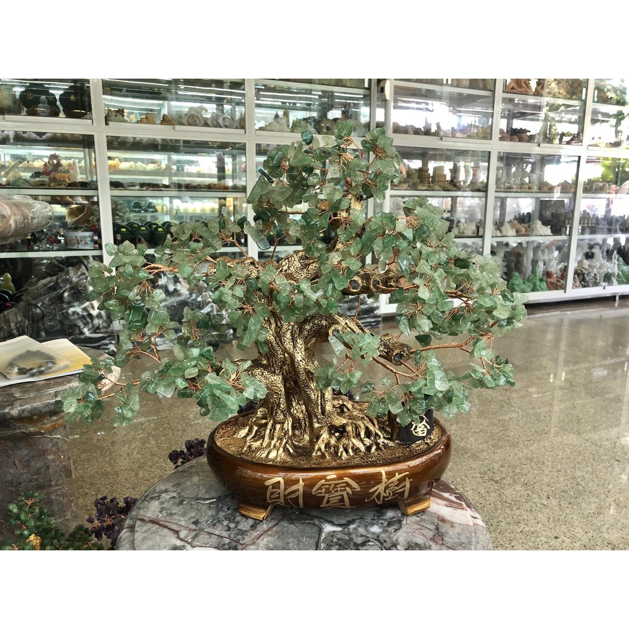Cây Tài Lộc bonsai phong thủy đá thạch anh dâu tây xanh - Cao 40 cm