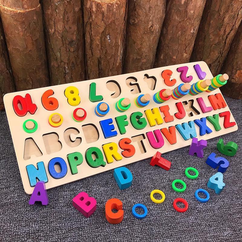 Bảng chữ cái và số cho bé kèm hình khối cột tính bậc thang, đồ chơi học tập, bảng ghép hình bằng gỗ giúp phát triển trí tuệ và kỹ năng cho trẻ