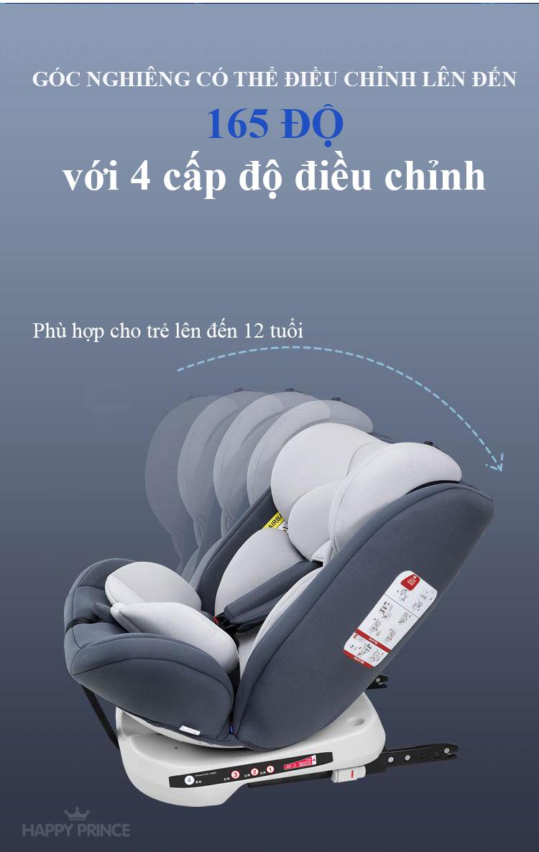 Ghế ô tô 2 chiều CHUẨN ISO 9001, điều chỉnh 4 tư thế từ nằm tới ngồi và có thể điều chỉnh độ cao 7 cấp cho bé từ 0-12 tuổi (xám) 5