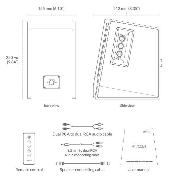 Loa Kiểm Âm Công Suất Lớn Bluetooth Edifier R1700BT AZONE Cao Cấp - Hàng Nhập Khẩu