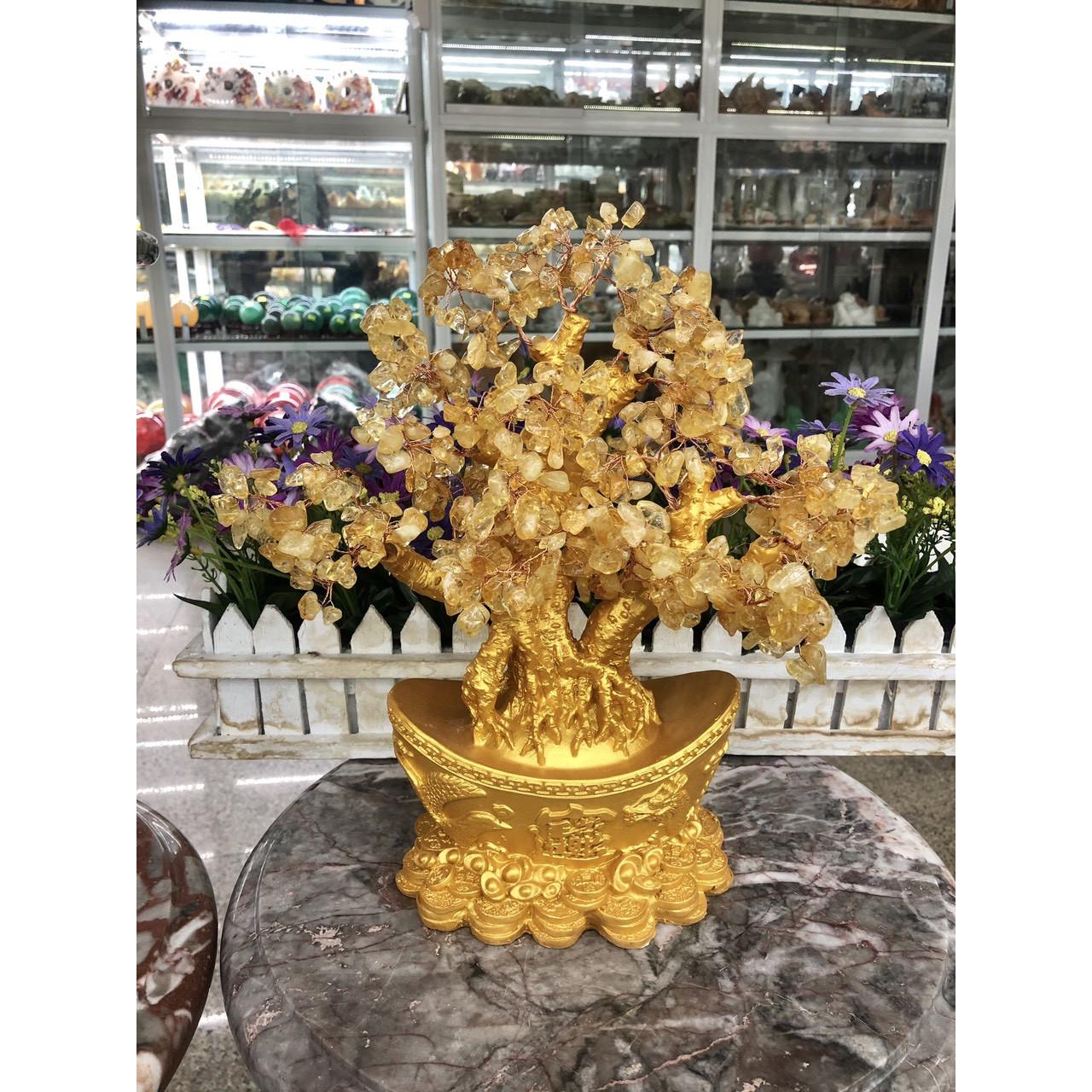 Cây Tài Lộc phong thủy đá thạch anh vàng với đế hình thỏi vàng để bàn làm việc, bàn thờ thần tài - Cao 30 cm