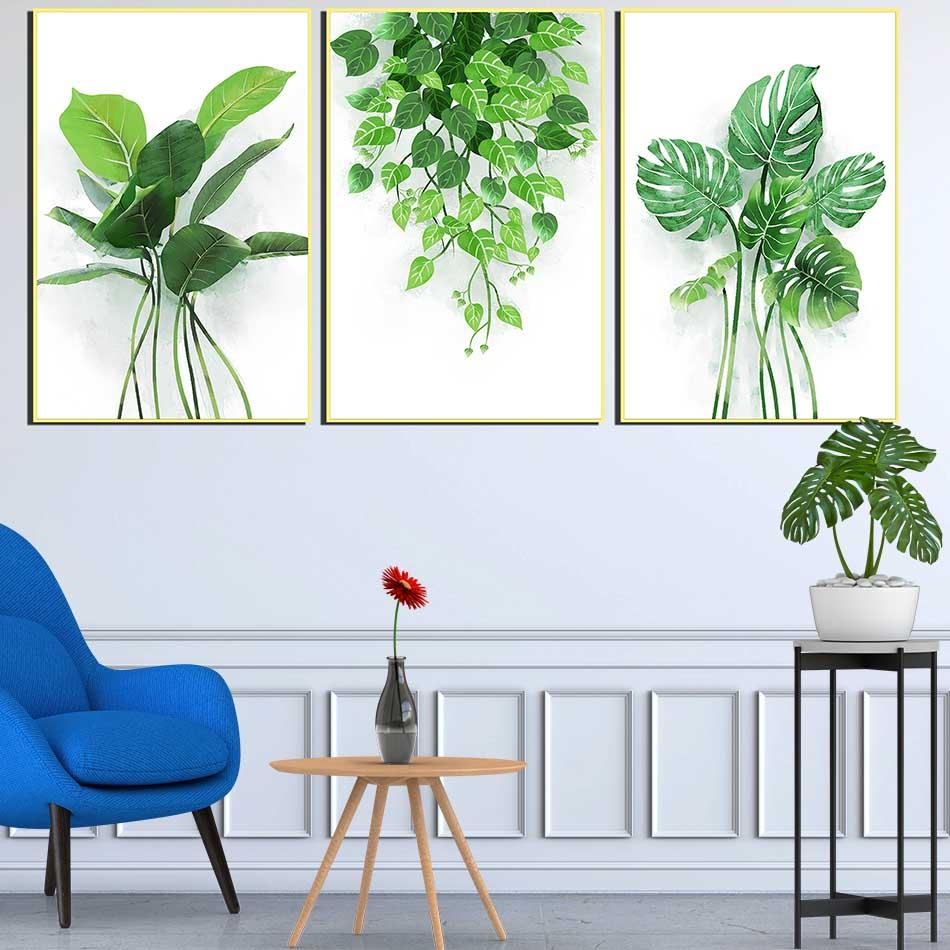 Bộ 3 tranh canvas treo tường Decor Hoa lá phong cách scandinavian - DC041