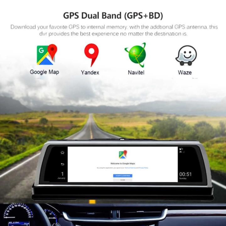 Camera hành trình Whexune V900 đặt taplo ô tô 4G, wifi, android 8.1, 10 inch tích hợp cam lùi - Hàng Nhập Khẩu