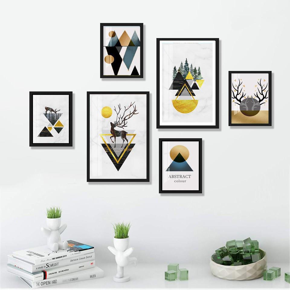 Bộ 06 tranh treo tường Bắc Âu Scandinavan trang trí phòng khách, phòng ngủ - Tặng kèm đinh ba chân chuyên dụng treo tranh
