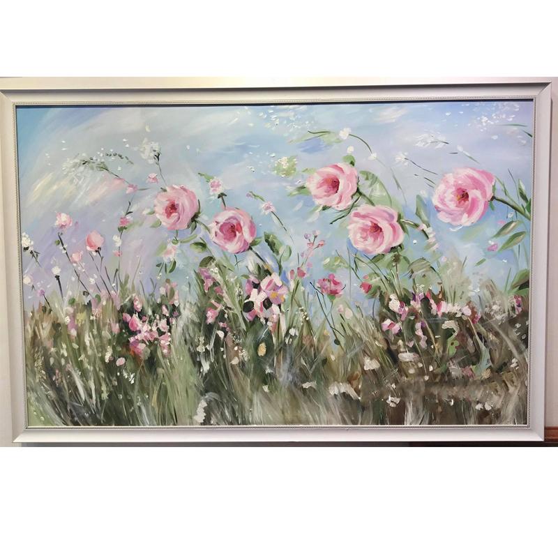 Tranh sơn dầu vẽ tay OP046 Roses and wind