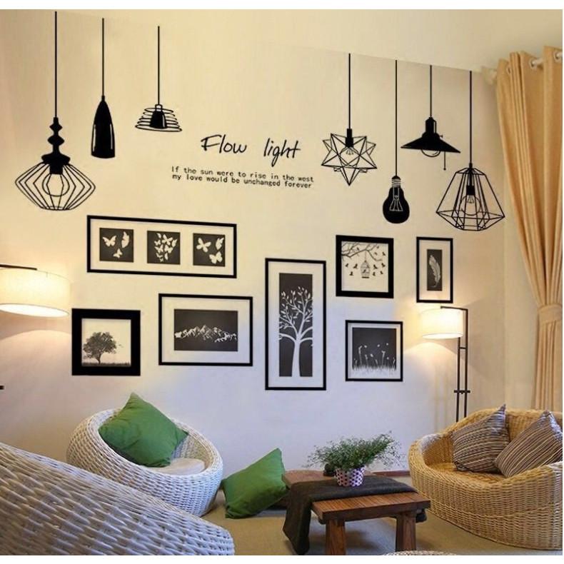 Decal dán tường Chùm đèn flow light và khung ảnh photo - HP403