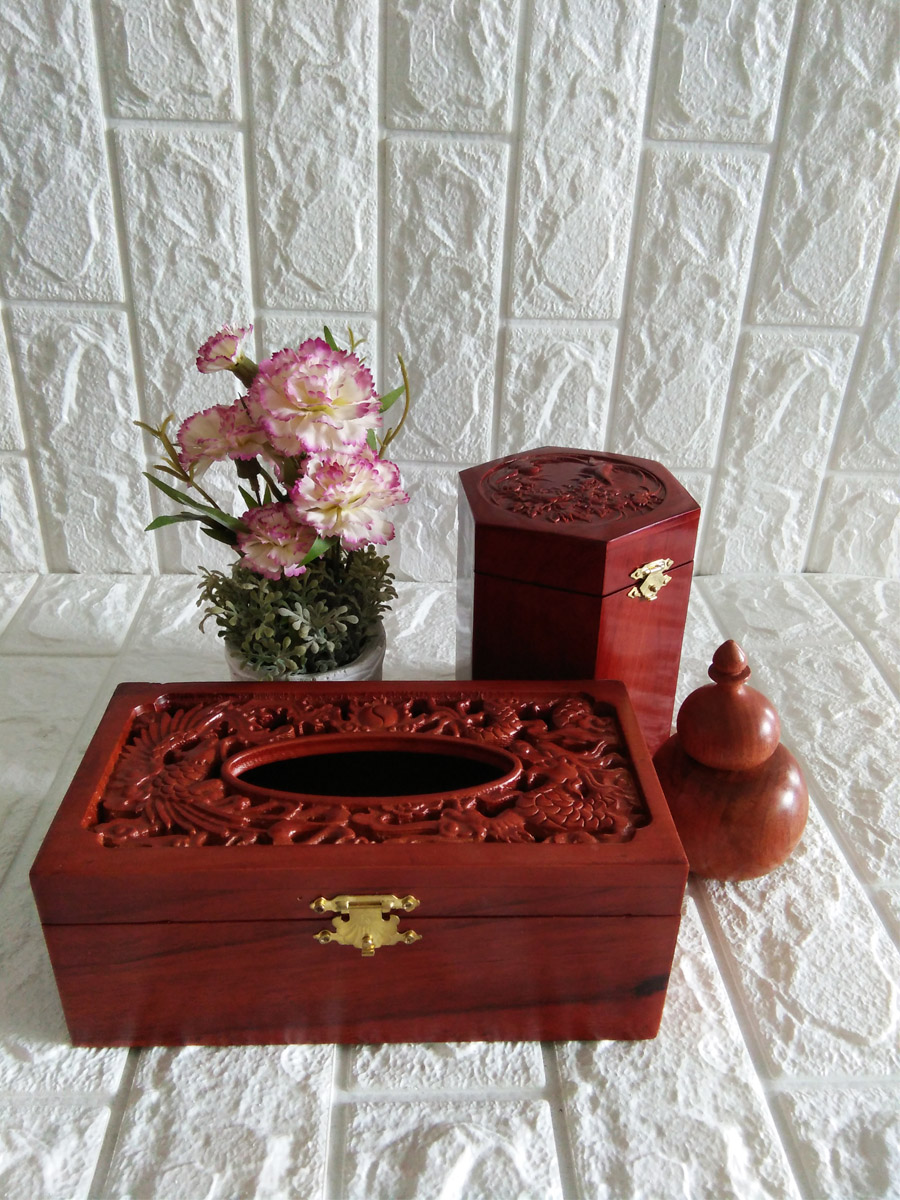 Bộ ba tiện ích hộp giấy ăn rồng phượng,hộp trà trung trạm chim hoa,hũ tăm tiện hồ lô  C3RP12