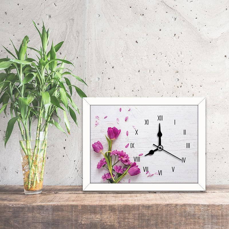 Tranh đồng hồ hình hoa lá màu tím WC087