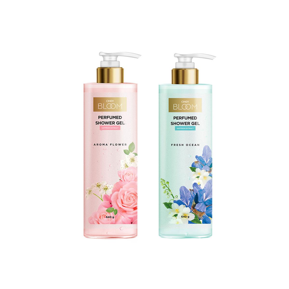 Combo 2 Chai Sữa Tắm Nước Hoa Cindy Bloom Hương Aroma Flower + Fresh Ocean (640g/chai)