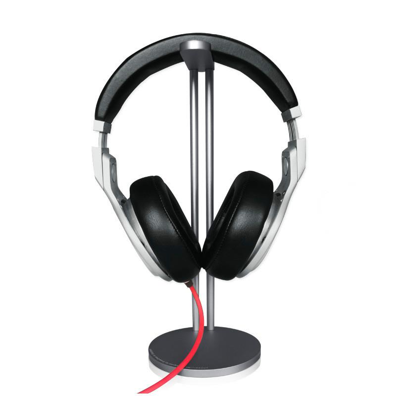 Kệ Nhôm 2 Chân Treo Tai Nghe Headphone Đầu Bọc Da - Hàng Nhập Khẩu