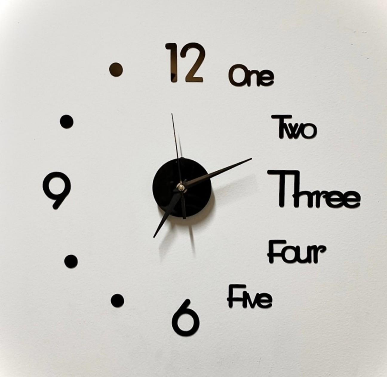 Đồng hồ dán tường 3D phong cách châu âu tráng gương giành cho tường trơn - size 40x40cm - màu đen
