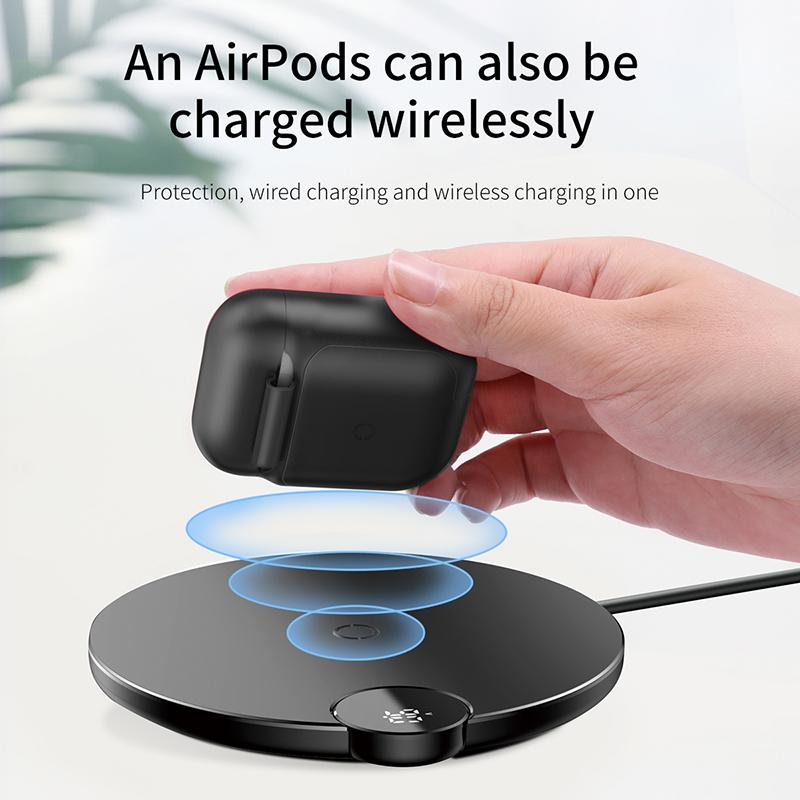 Bao case silicon kiêm sạc nhanh không dây Apple Airpods Baseus (Chống sốc, chuẩn sạc Qi, chứng nhận MFI của Apple) - Hàng chính hãng