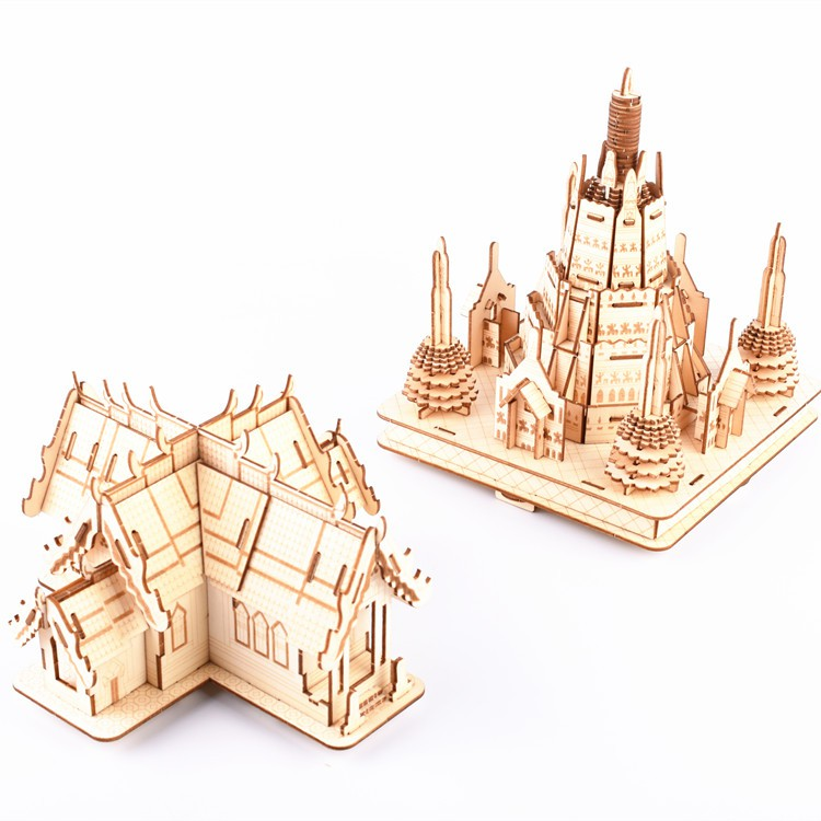 Đồ chơi lắp ráp gỗ 3D Mô hình Cung điện cổ Laser Kèm đèn LED