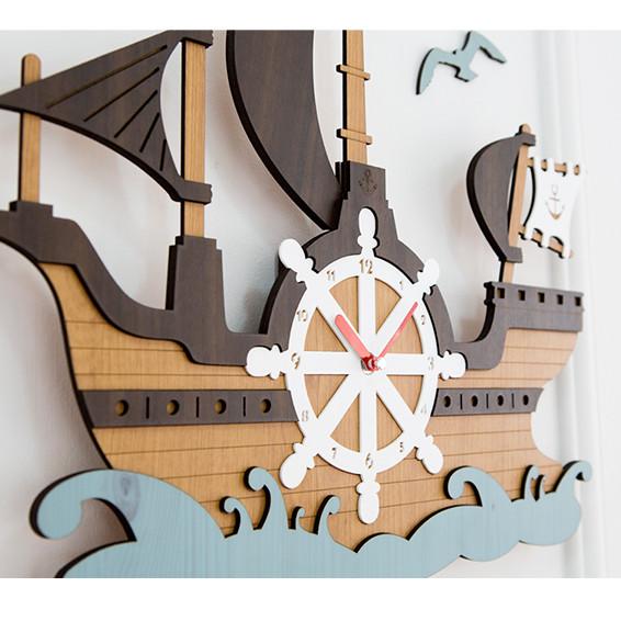 Đồng hồ treo tường trang trí nhà cửa hình Thuyền buồm Wall Clock - P00000ES