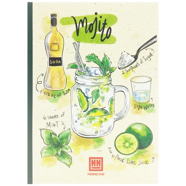 Vở Kẻ Ngang Cocktail - 80 Trang Không Kể Bìa - ĐL 70 - Mẫu 2 - Mojito - Xanh Lá