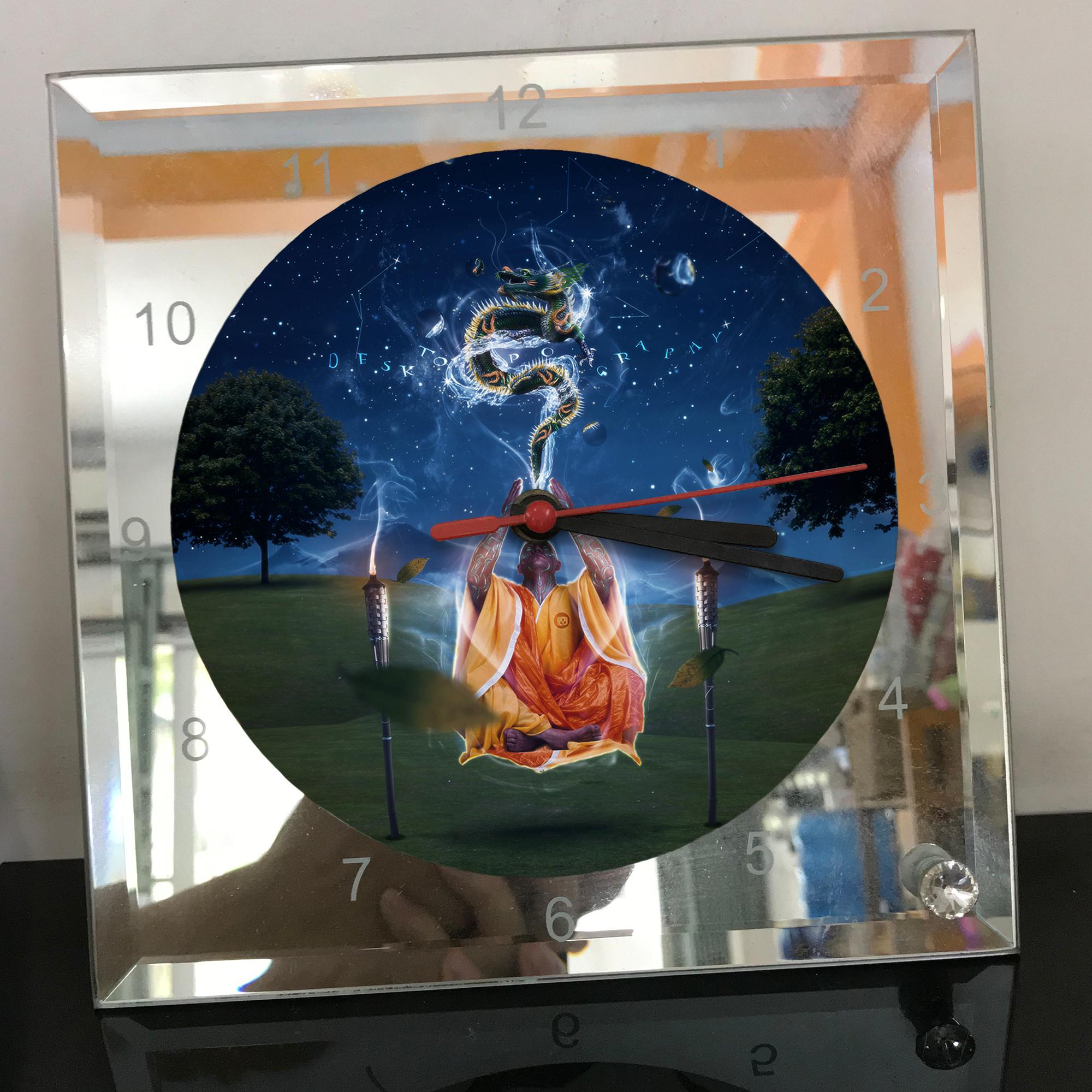 Đồng hồ thủy tinh vuông 20x20 in hình Buddhism - đạo phật (64) . Đồng hồ thủy tinh để bàn trang trí đẹp chủ đề tôn giáo