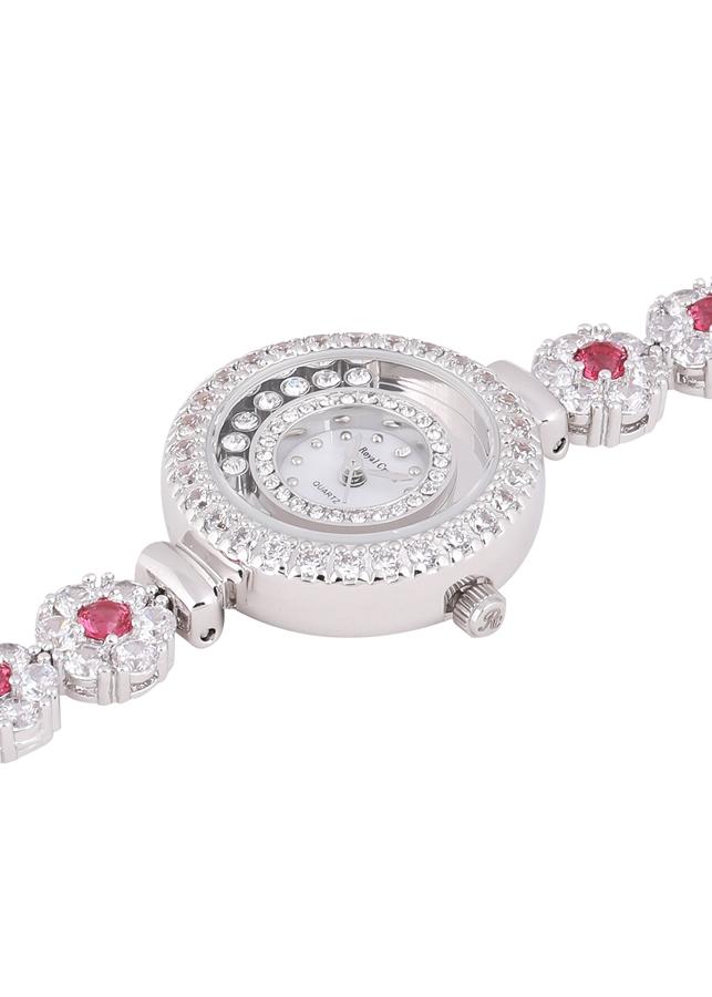 Đồng hồ nữ chính hãng Royal Crown 5308 dây đá vỏ trắng đá ruby