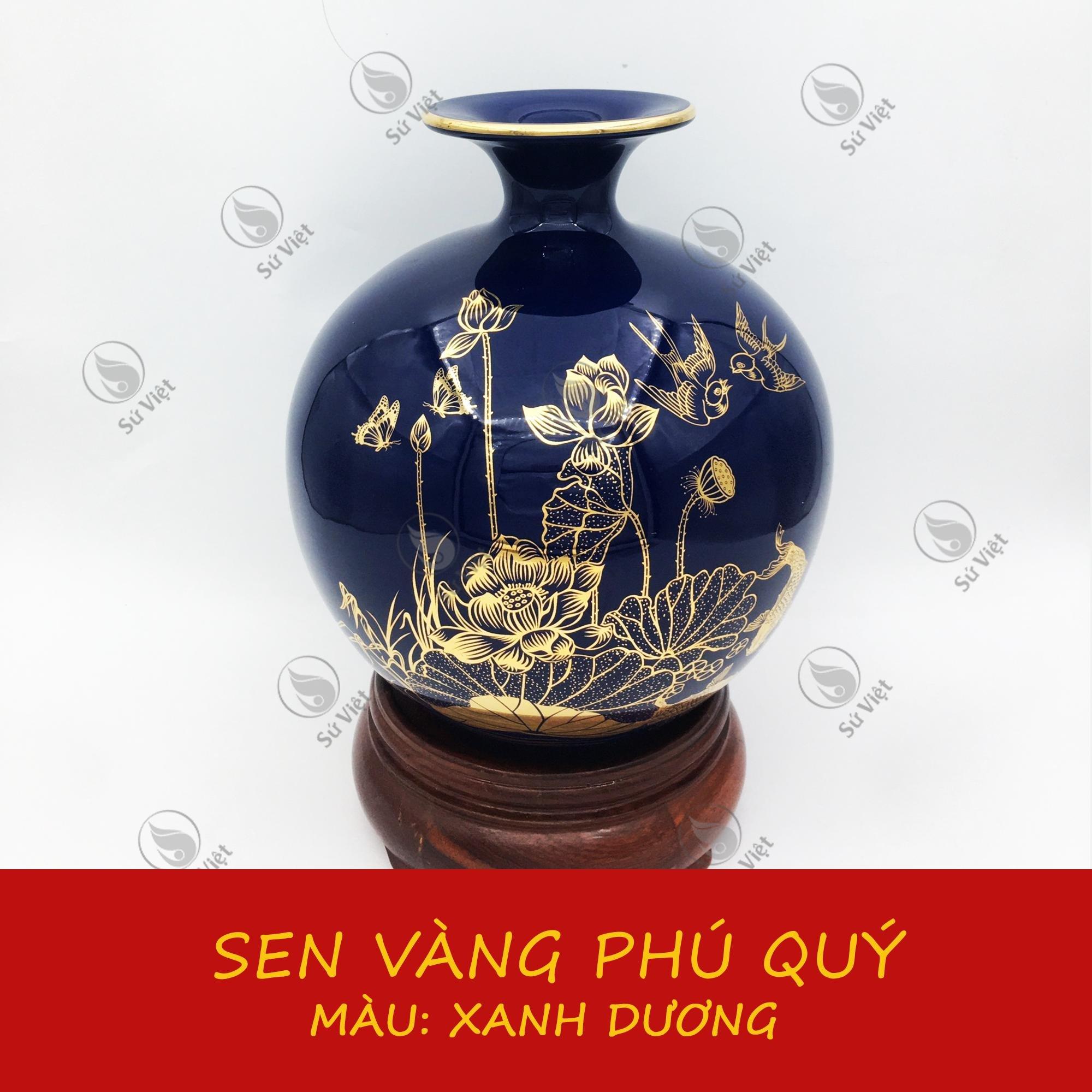 Bình Hút Lộc Vẽ Vàng Bát Tràng Sen Vàng Phú Quý
